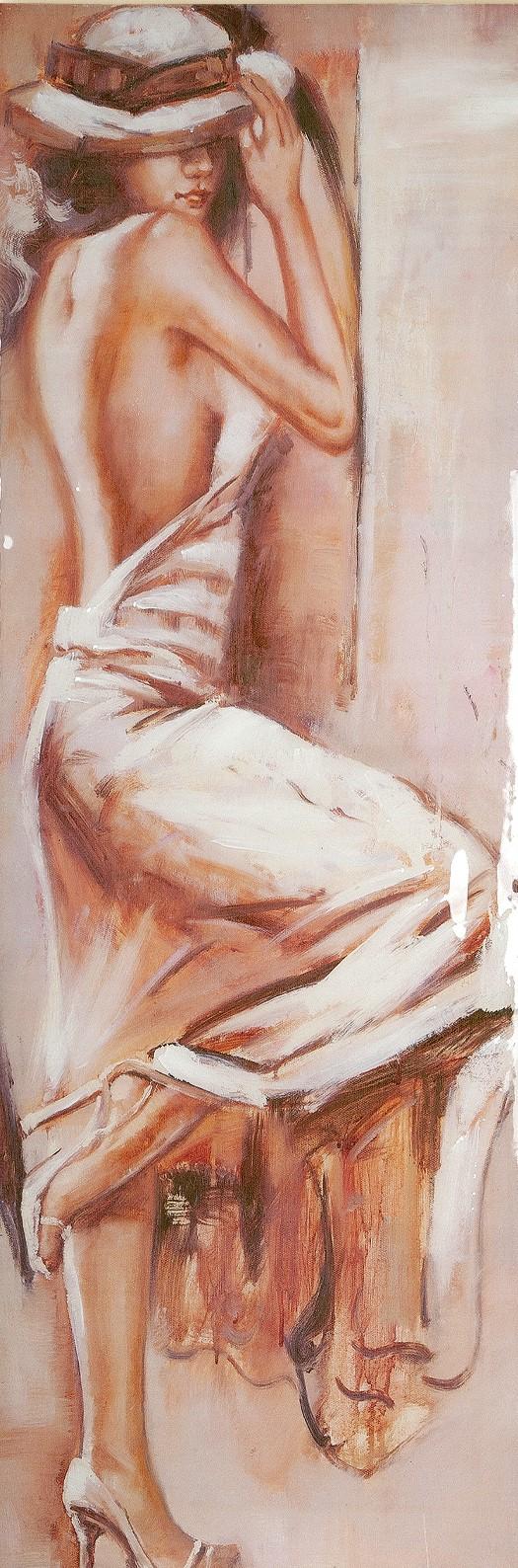 Schilderij vrouw met jurk hoogglans 40x120