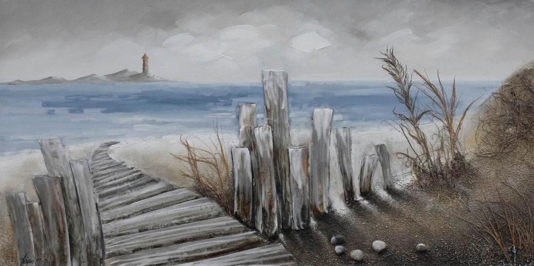 Schilderij strand 70x140