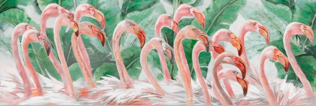 Schilderij flamingo's 50x150