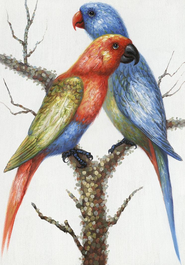Schilderij papegaaien 70x100