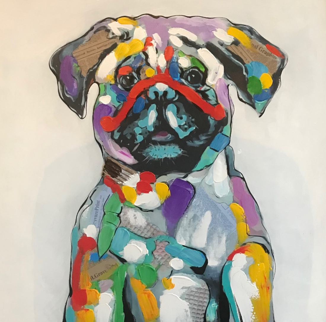 schilderij mopshond 70x70