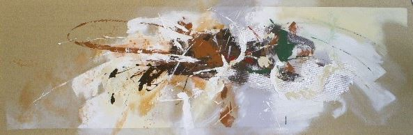 abstract schilderij bruin tint  60x180
