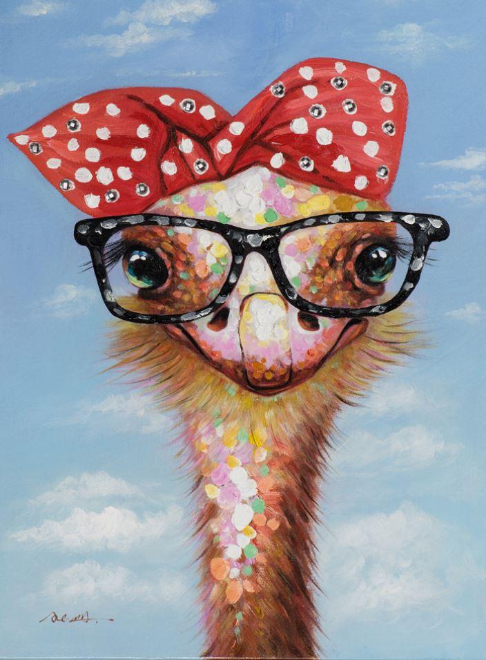 Schilderij struisvogel met bril 50x70