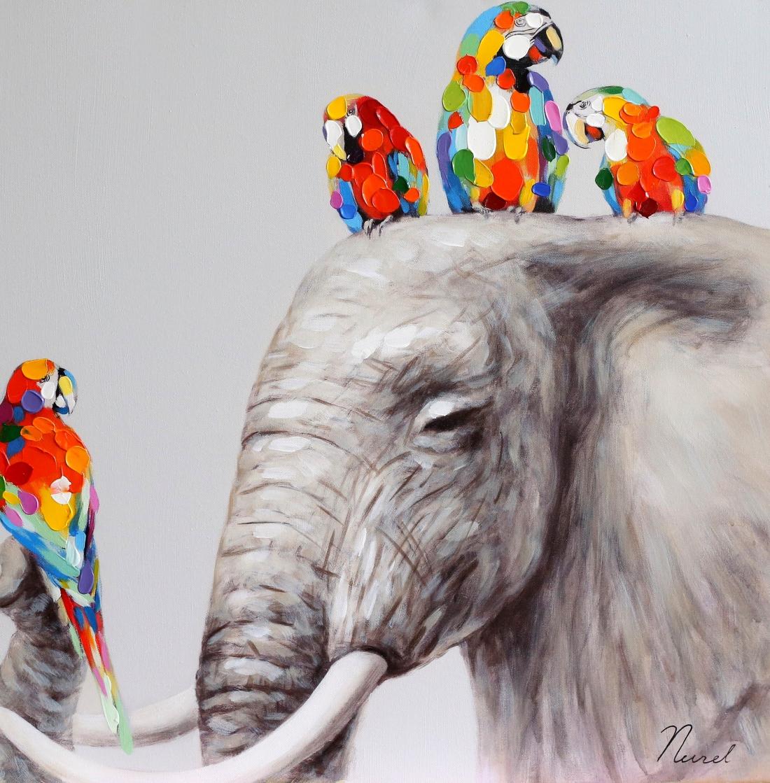 schilderij olifant met vogels 60x60