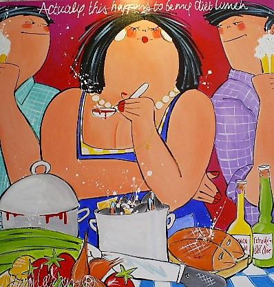 Schilderij dikke dames lunch El van Leersum 100x100