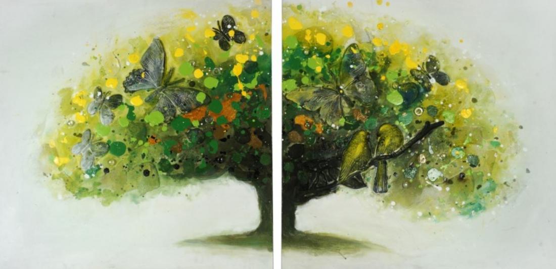 schilderij set boom met vogels  en vlinders 60x120