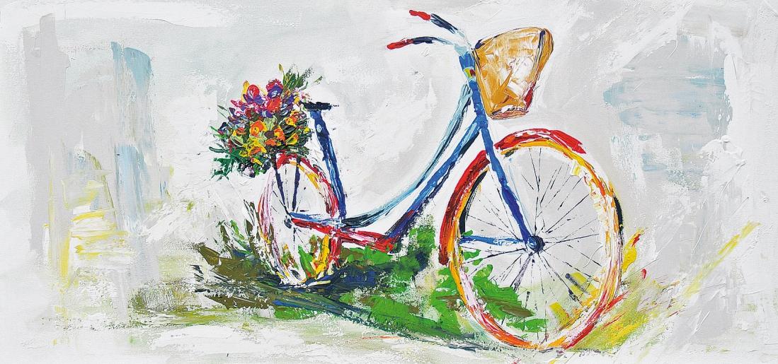schilderij fiets 55x115