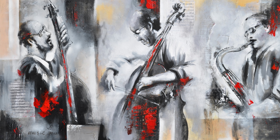 schilderij muzikanten 70x140