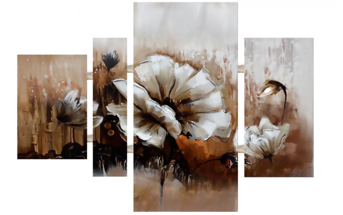 Schilderij bloemen 4-luik 74x109