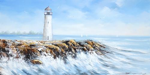 Schilderij strand met vuurtoren 70x140