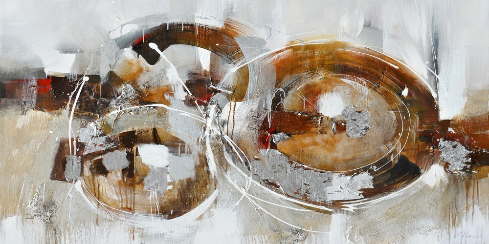 Schilderij abstract cirkels 70x140