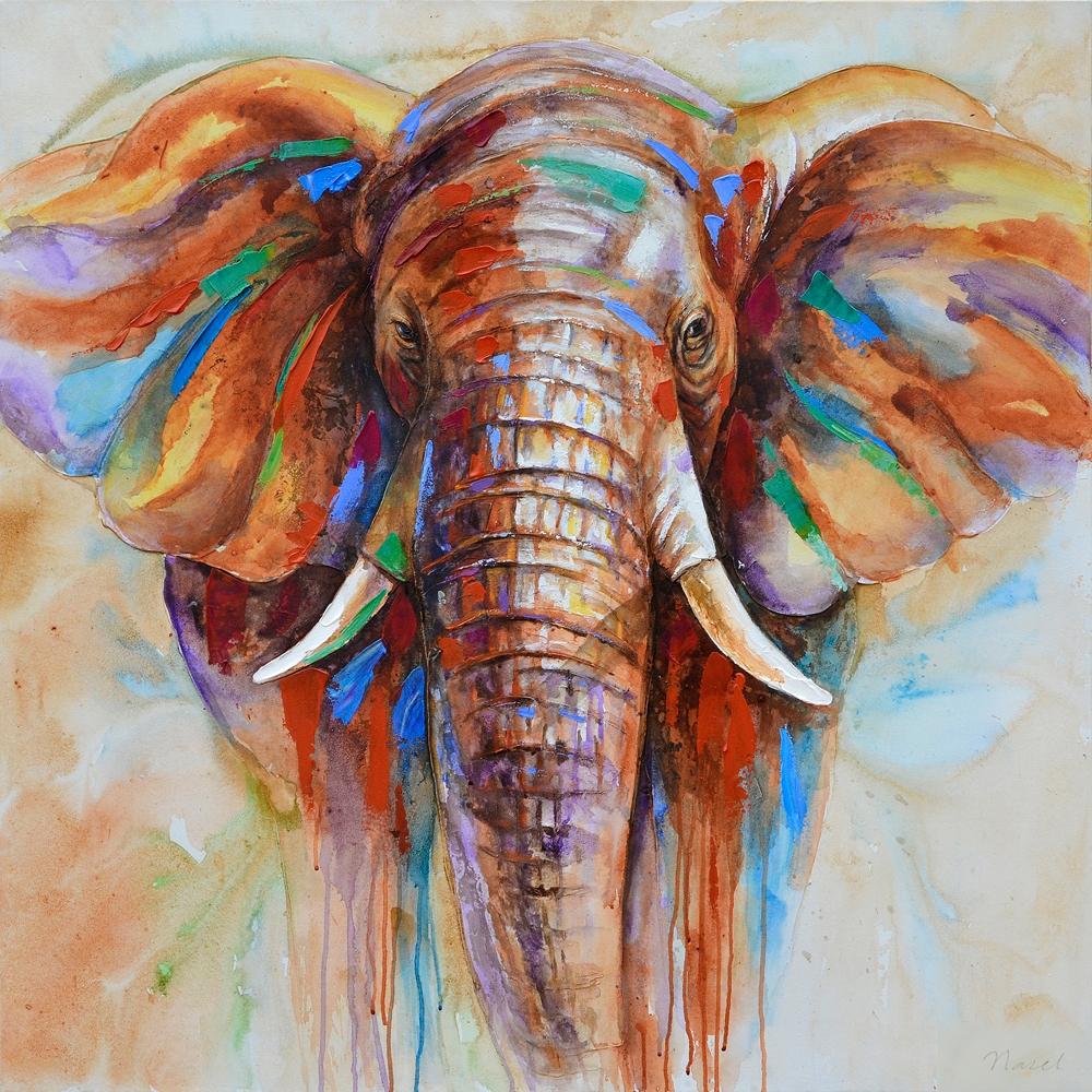 Schilderij olifant 100x100