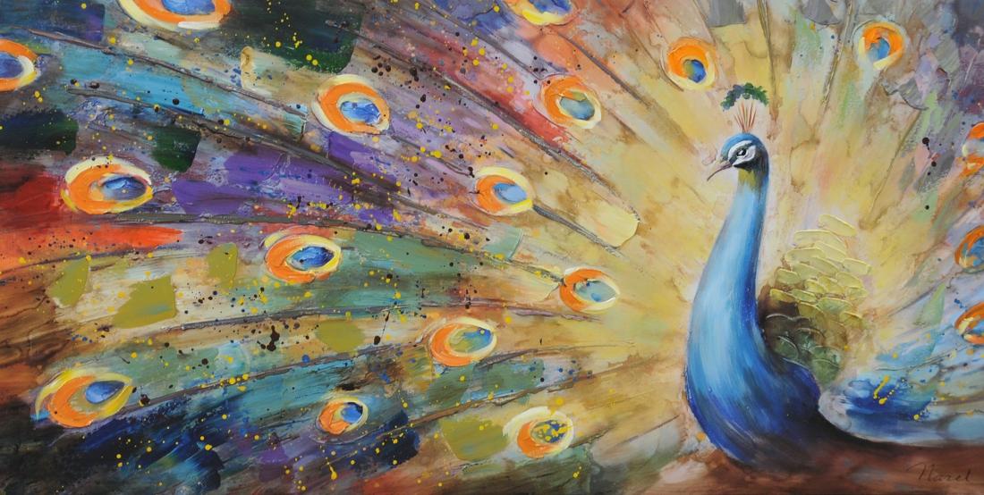 Schilderij pauw 70x140