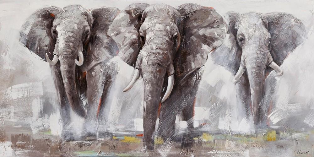Schilderij olifanten 70x140