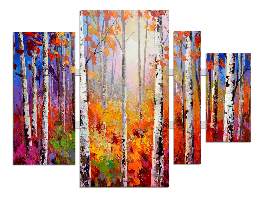 4 luik schilderij bomen 80x109