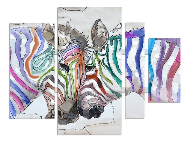 4 luik schilderij zebra 80x109