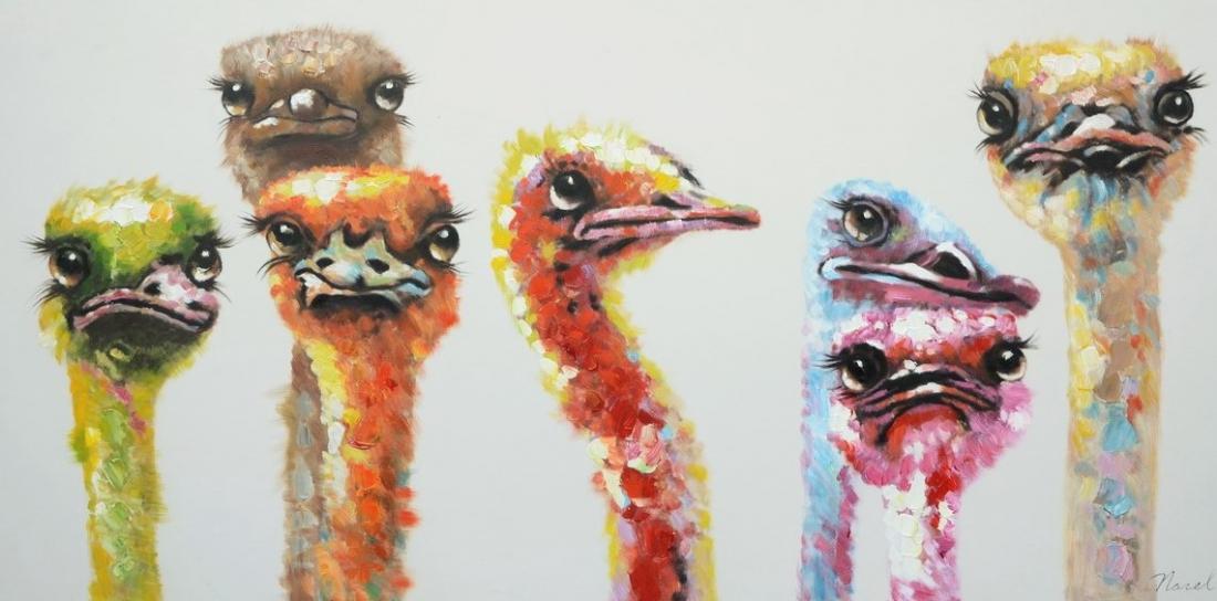 Schilderij struisvogels 70x140