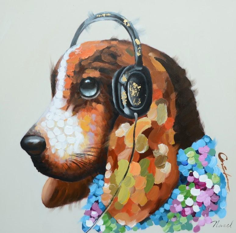 schilderij hond 60x60