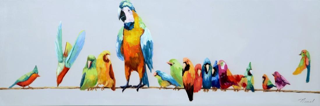 schilderij vogels modern 50x150