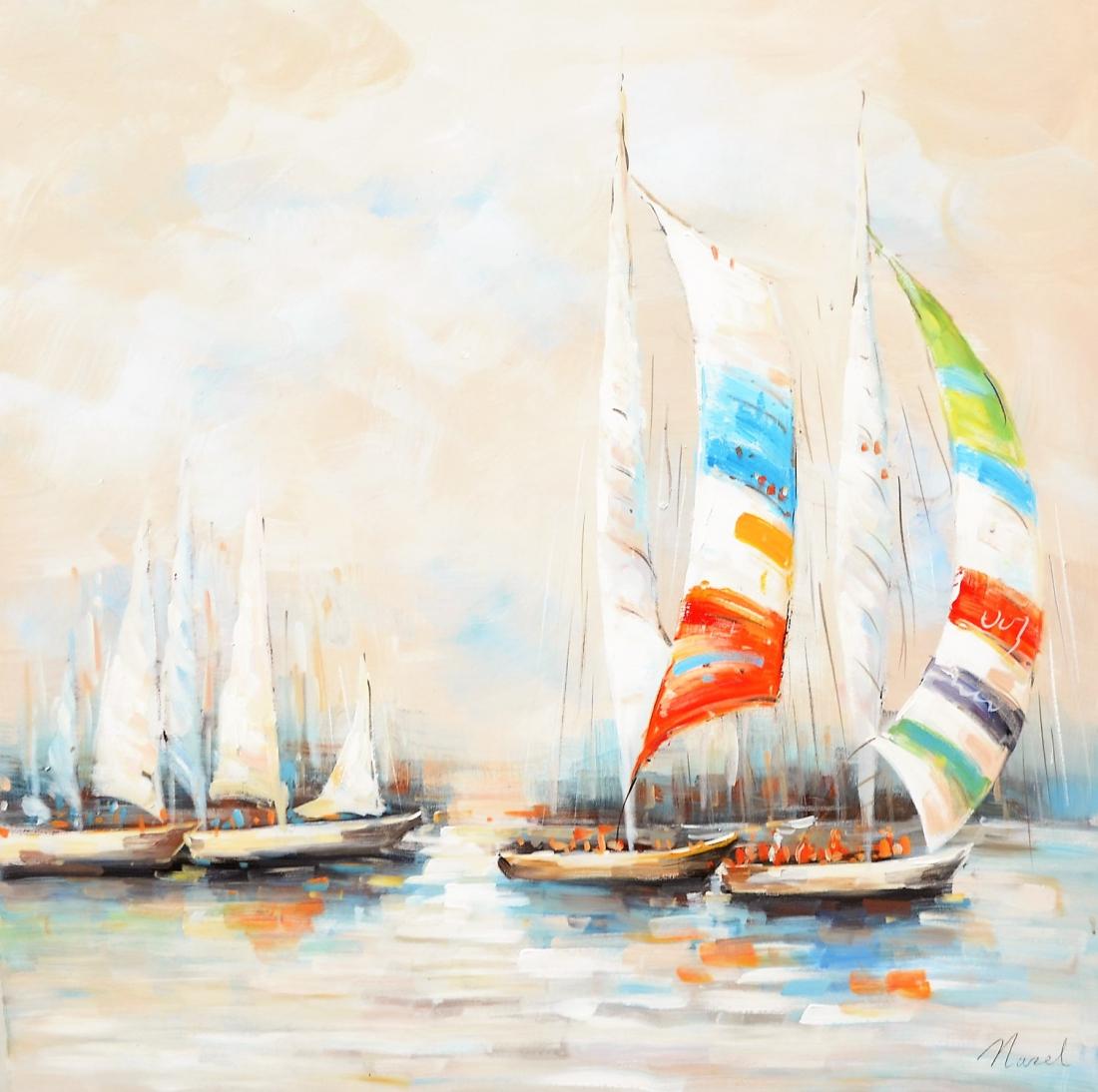 schilderij boten 100x100