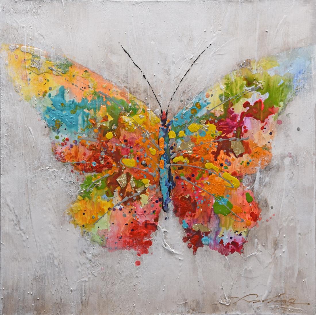 Schilderij vlinder 74x74