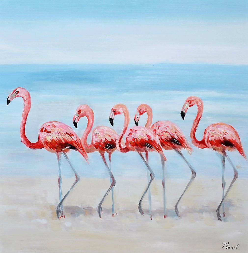 schilderij flamingo 80x80
