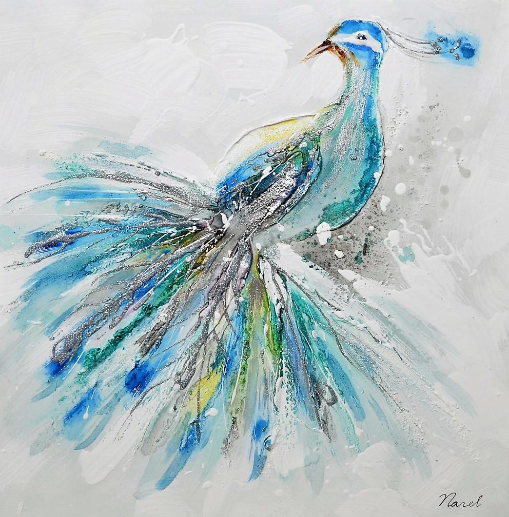 schilderij pauw 60x60