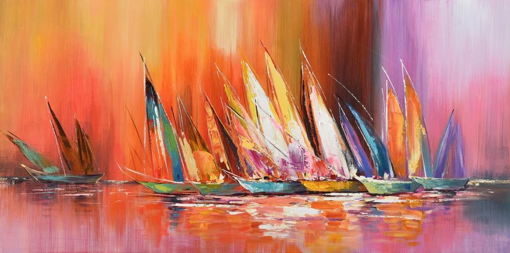 schilderij modern kleurrijk 70x140