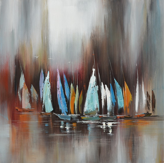 schilderij modern boten 100x100