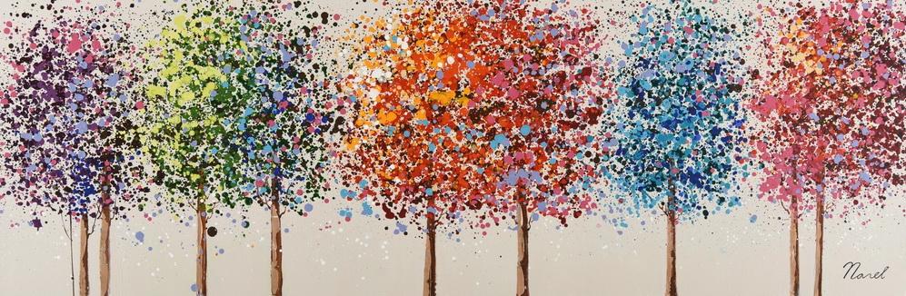 schilderij bomen 50x150