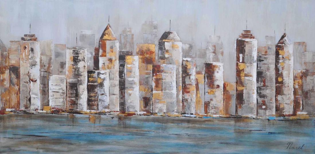 Schilderij skyline 70x140 atm500 schilderijenshop for Skyline schilderij