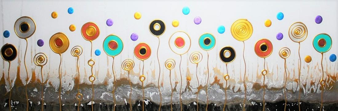 schilderij bloemen modern 50x150