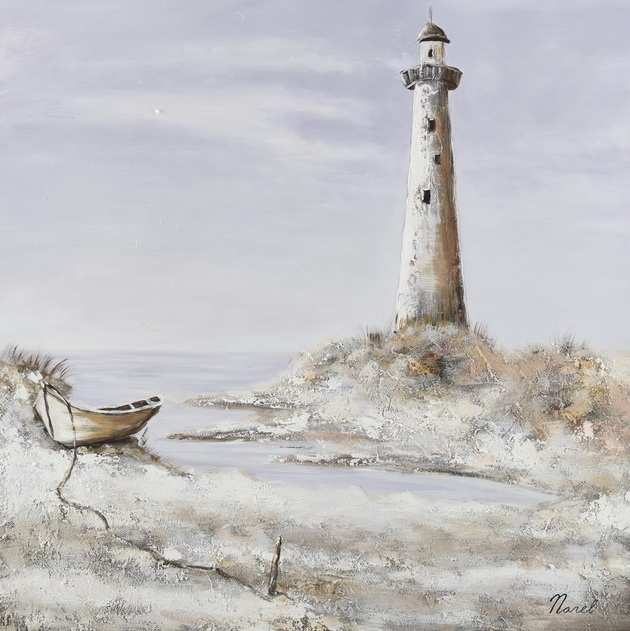 schilderij strand met vuurtoren 100x100