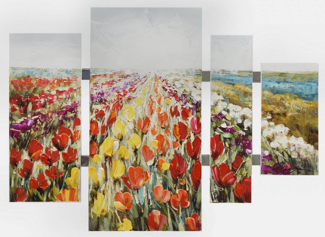 Schilderij bloemenveld 4-luik 80x109