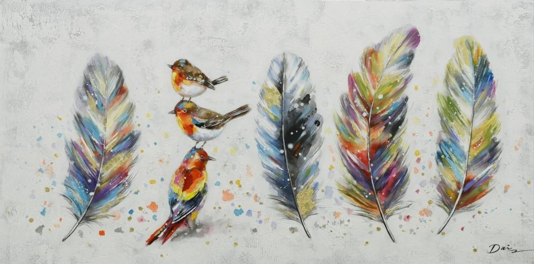 schilderij vogels en veren 70x140