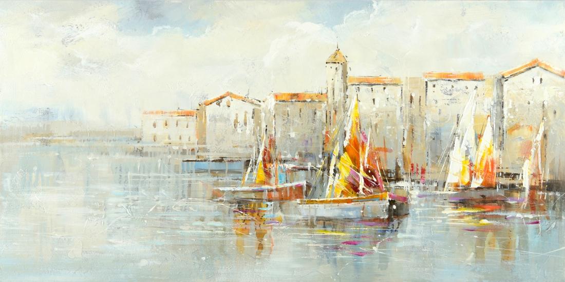schilderij havenaanzicht 70x140