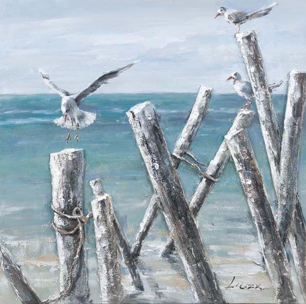 schilderij meeuwen op het strand 70x70