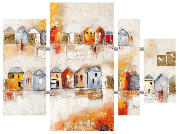 Schilderij huisjes 4-luik  80x109