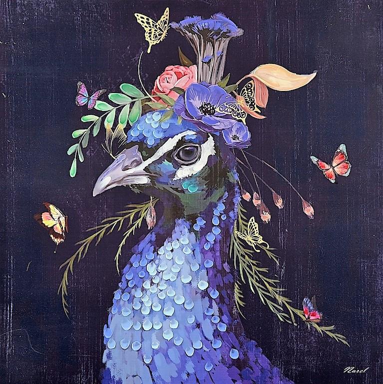 Schilderij pauw 100x100