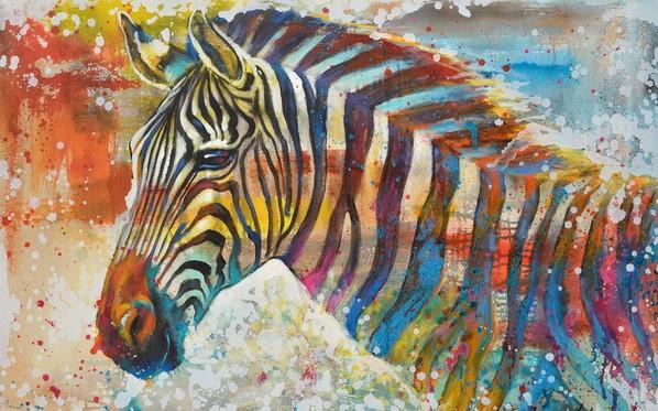 schilderij zebra 70x105