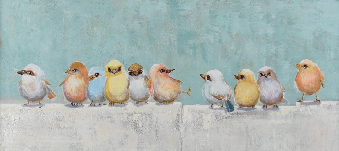 Schilderij vogeltjes 70x140