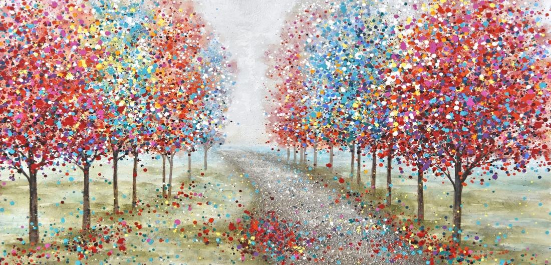 Schilderij bomenlaan 70x140