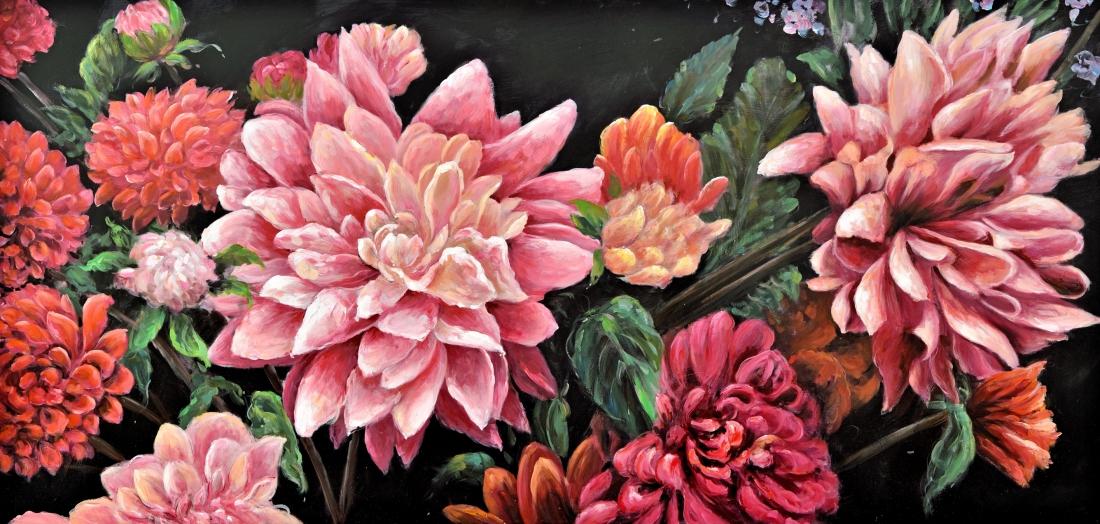 Schilderij bloemen 100x200