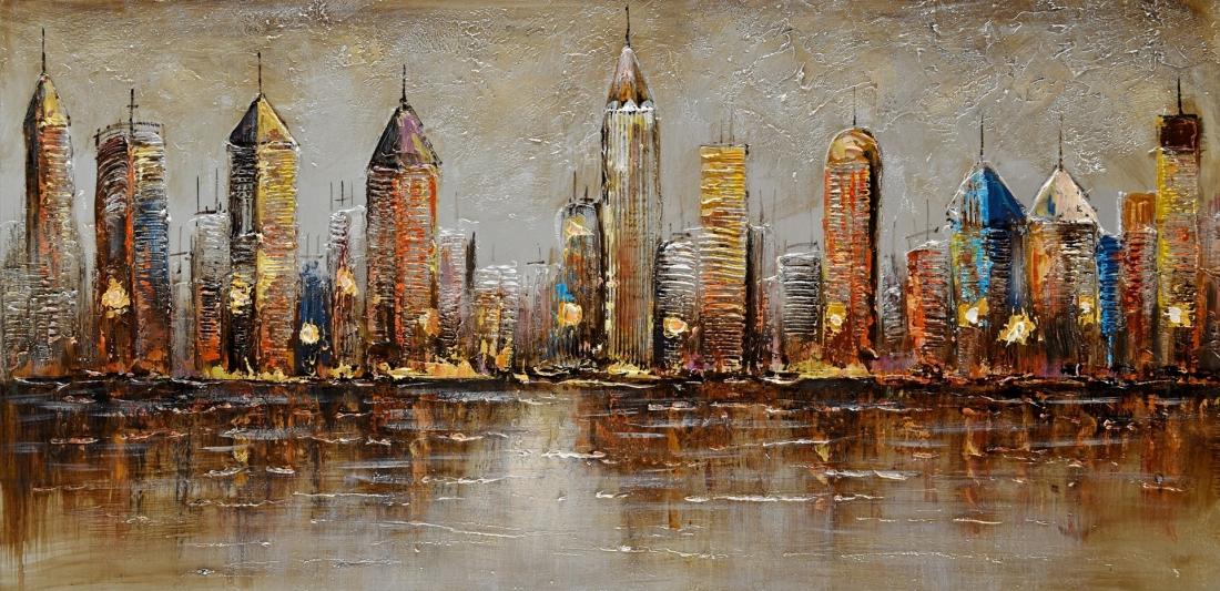 Schilderij skyline 70x140