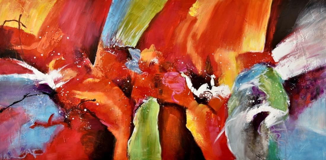 Schilderij abstract 100x200