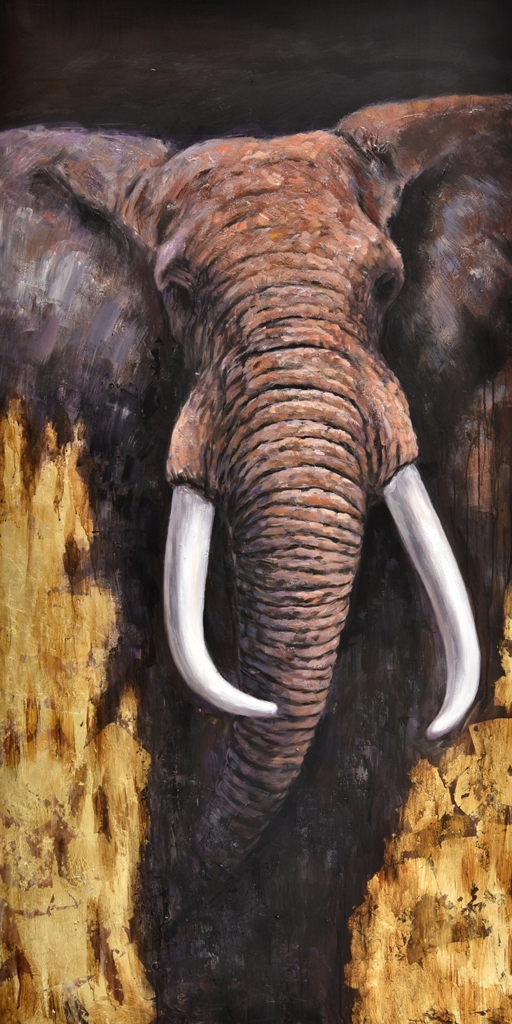 Schilderij olifant 100x200