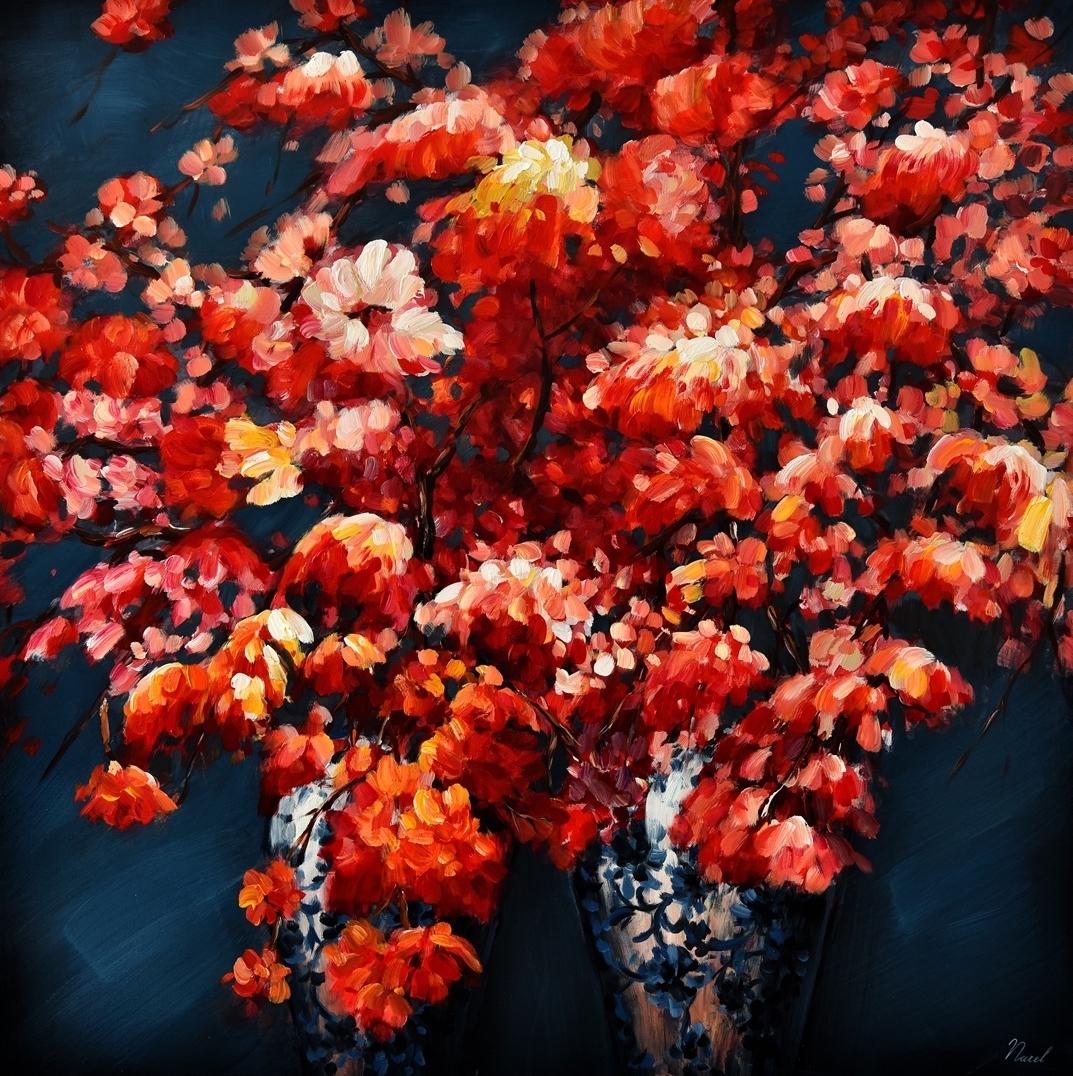 Schilderij bloemen 100x100