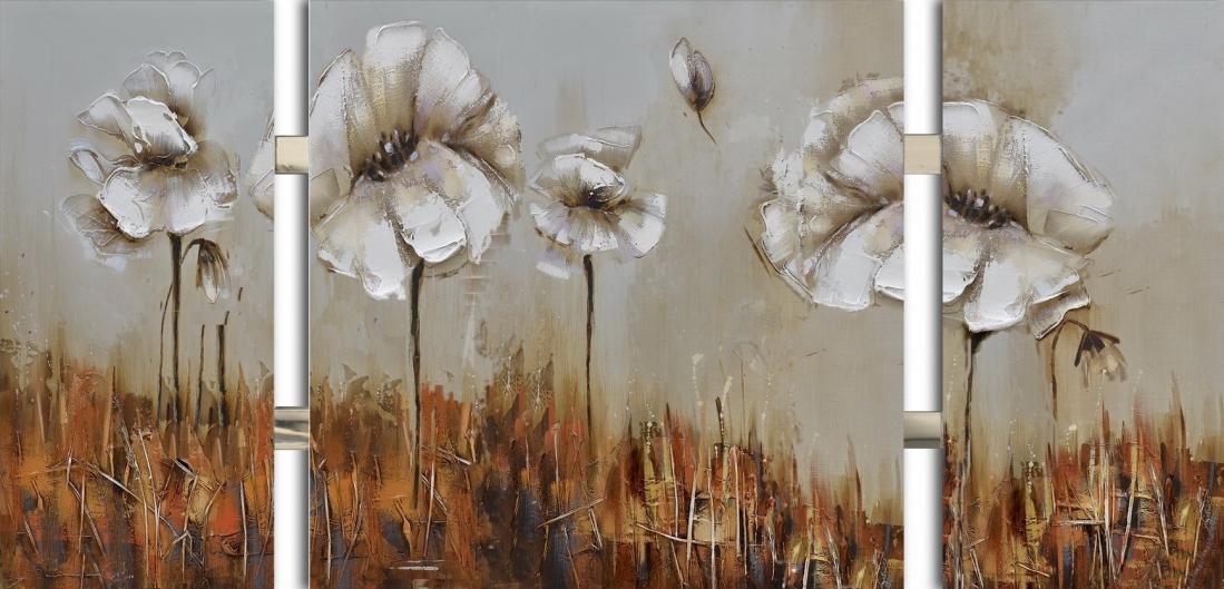 3 luik schilderij bloemen 70x146