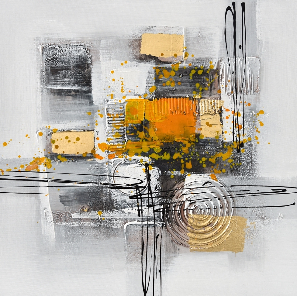 schilderij abstract geel 60x60