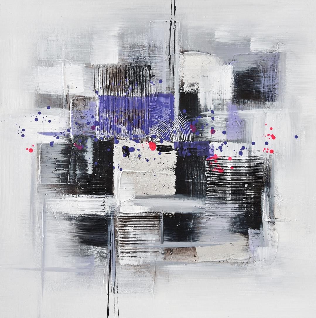 schilderij abstract paars 60x60